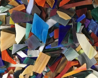 1 Pound of Tumbled Stained Glass Mixed Colors, Interesting Shapes and Variety of Sizes, No Sharp Edges Great for Mosaics or Jewelry
