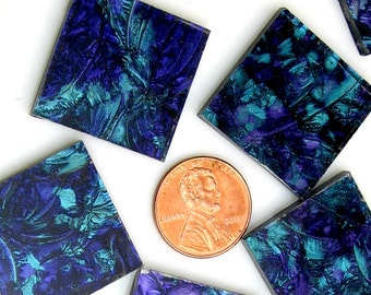 Violet Blue Green Mosaic Tile Hand cut From VG560Van Gogh  Stained Glass, 3 Shapes & 12 Different Sizes, Perfect for Mosaic Art and Crafts