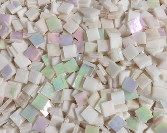 """100 Spectrum Pink Champagne Iridescent Stained Glass 3/8"""" Square Tiles"""