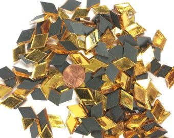 "Gold Mirror Mosaic Tile ""Goldwater"" Tiny Diamonds"