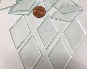 """25 2"""" X 1 1/8"""" Clear Glass Diamond Tiles"""