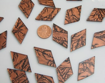 Copper Mosaic Tile Hand Cut From VG800 Van Gogh Glass, Choose From 3 Shapes & 12 Different Sizes, Perfect for Mosaic Art and Crafts