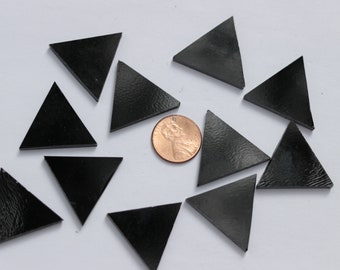 25 Solid Black Opal Mosaic Tile Triangles