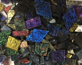 1 Pound of Van Gogh Glass Mosaic Tile in Odd Sizes Shapes and Colors Including Squares, Rectangles, Diamonds