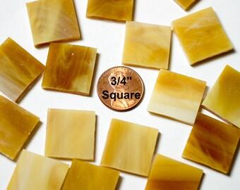 "40 Light Brown 3/4"" Square Mosaic Tiles ""Light Oak"""