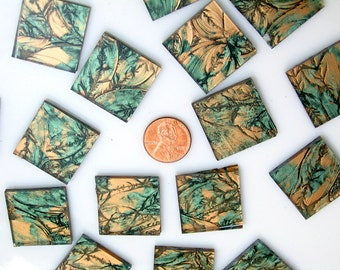 Green Bronze Mosaic Tile Hand Cut From VG120 Van Gogh Glass, Choose From 3 Shapes & 12 Different Sizes, Perfect for Mosaic Art and Crafts