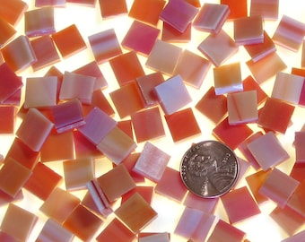 Orange Red Mosaic Tile Hand Cut From Spectrum Stained Glass, Choose From 3 Shapes & 12 Different Sizes, Perfect for Mosaic Art and Crafts