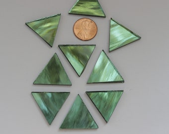 "25 Light Green Mirror Mosaic Tile ""Tree Foil"" Triangles"
