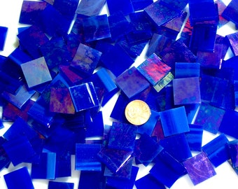 Cobalt Blue Iridized Mosaic Tile