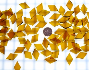 50 Medium Amber Mosaic Tile Small Diamonds, Spectrum Waterglass Stained Glass