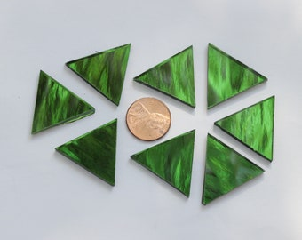 "25 Green Mirror Mosaic Tile ""Emerald Ice"" Triangles"