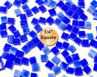 "300 1/4"" Square Cobalt Blue Mosaic Tiles"