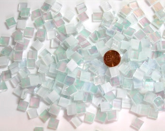Wispy White Iridescent Mosaic Tile