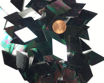 Black Opal Waterglass Iridescent Mosaic Tile