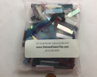 """120 1/4"""" X 1"""" Colored Iridized Mosaic Tile Border Mix, Spectrum Iridescent Stained Glass"""