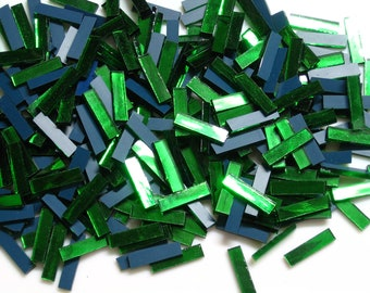"100 Green Mirror Mosaic Tile ""Emerald Ice"" Borders, 1"" X 1/4"""
