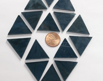 25 Wispy Steel Blue Mosaic Tile Triangles