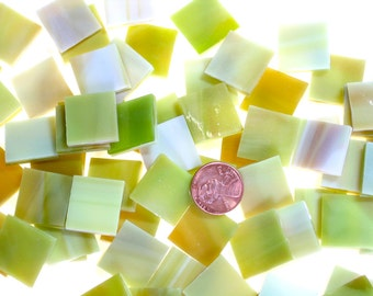 "Amber Green and White Mosaic Tile ""Celery Green"""