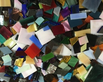 1 Pound of Spectrum Stained Glass Scrap Mosaic Tile in Odd Sizes Shapes & Colors Squares, Rectangles, Diamonds and Mirrors