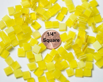 Bright Yellow Stained Glass Mosaic Tiles Hand Cut From Spectrum Stained Glass, Square, Diamond and Border Shapes, More Colors Available Here