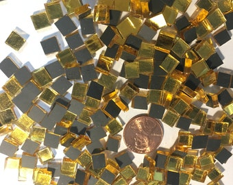 "250 Gold Mirror Mosaic Tile ""Goldwater"" Tiny 1/4"" Square Tiles Hand Cut from Spectrum Stained Glass, Perfect for Mosaic Arts and Crafts"