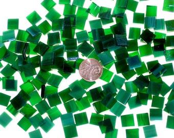 Wispy Dark Green Mosaic Tile