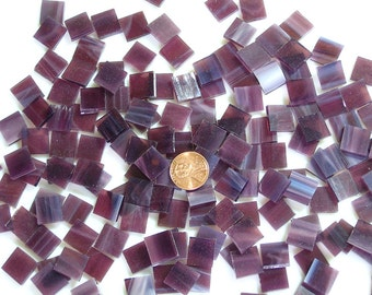 "150 Wispy Plum Purple 3/8"" Square Mosaic Tiles Hand Cut Spectrum Stained Glass, Perfect for Mosaic Art Crafts"