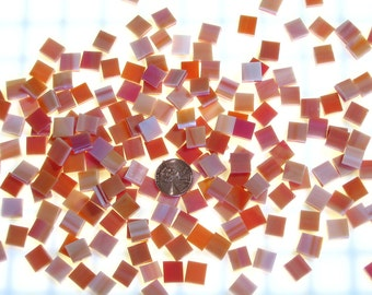 "250 1/4"" Square Orange Red Mosaic Tiles"