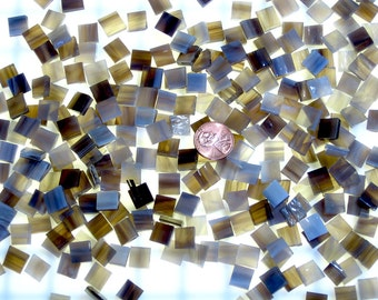 Streaky Brown Mosaic Tile Hand Cut From Spectrum Stained Glass, Hawks Wing #6011-85CC, 3 Shapes & 10 Different Sizes, Perfect for Mosaic Art