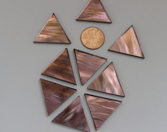 "25 Purple  Mirror Mosaic Tile ""Rose Blush"" Triangles"