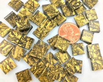 """75 Gold Sparkle 3/8"""" Square Mosaic Tiles Hand Cut From Van Gogh Sparkle Glass, Stained Glass Tiles are Perfect for Mosaic Arts and Crafts!"""