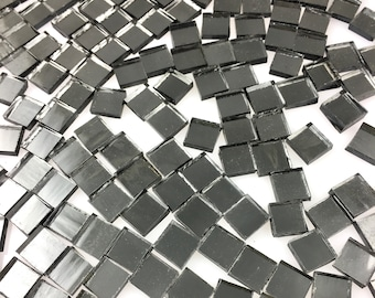 """100 3/8"""" Dark Gray Mirror Tiles """"Gun Metal"""" Original Spectrum Silvercoat Mirrored Stained Glass, Perfect for Mosaic Art & Craft Projects!"""