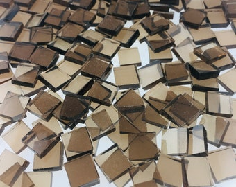 """100 3/8"""" Bronze Mosaic Tiles Cut From 518-1W Spectrum Waterglass, Stained Glass Tiles are Perfect for Mosaic Art and Craft Projects!"""