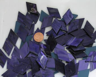 """Dark Purple Mirror Tiles, Diamond Shapes Hand Cut From Spectrum """"Ultra Violet"""" Silvercoat Stained Glass, Perfect for Mosaic Art and Crafts!"""