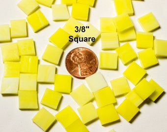 """75 3/8"""" Square Wispy Daffodil Yellow Mosaic Tiles Hand Cut From Original Spectrum Stained Glass, Perfect for Mosaic Art and Craft Projects!"""