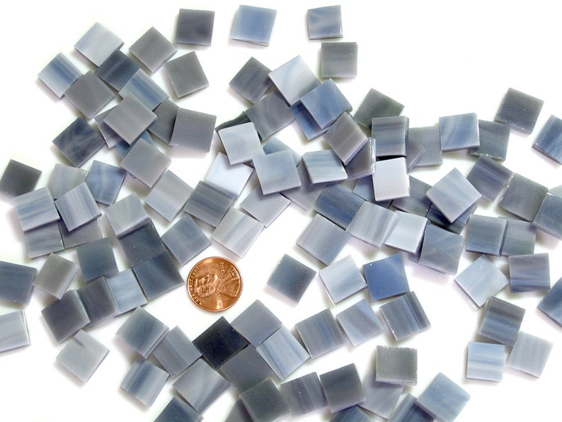 Smoky Gray Mosaic Tiles Hand Cut From Oceanside COE 96 Fusible image 0