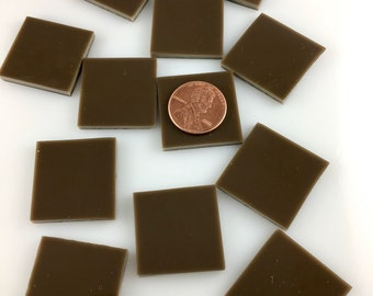 """15 1"""" Chocolate Brown Mosaic Tile, Hand Cut Spectrum COE 96 Fusible Stained Glass, Perfect for Mosaic Art, Crafting or Fusing"""