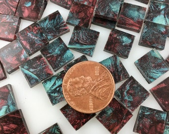 """75 3/8"""" Van Gogh Bluegreen Red Mosaic Tiles Hand Cut From VG670 Van Gogh Glass, Stained Glass Tiles for Mosaic Art and Crafting"""