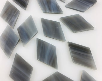 12 Smoky Gray Mosaic Tile Medium Diamonds Hand Cut From Oceanside COE 96 Fusible Stained Glass, Perfect Stained Glass Tiles for Mosaic Art