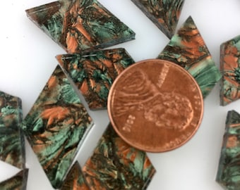 25 Van Gogh Green Copper Mosaic Tile Small Diamonds Hand Cut From VG180 Van Gogh Glass, Stained Glass Tiles for Mosaic Art and Crafts