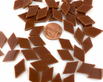 25 Chestnut Brown Mosaic Tile Small Diamonds, Spectrum Fusible Stained Glass, Stained Glass Tiles are Perfect For Mosaic Art or Fusing!