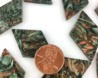 12 Van Gogh Green Copper Mosaic Tile Medium Diamonds Hand Cut From VG180 Van Gogh Glass, Stained Glass Tiles for Mosaic Art and Crafts