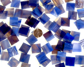 """50 1/2"""" Cobalt Rose Mosaic Tiles Hand Cut From Original Spectrum Stained Glass, Perfect for Mosaic Art and Crafts"""