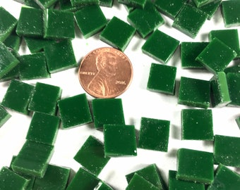 """75 3/8"""" Dark Green Mosaic Tile Hand Cut From Spectrum COE 96 Fusible, Stained Glass Tile is Perfect for Mosaic Arts and Crafts"""