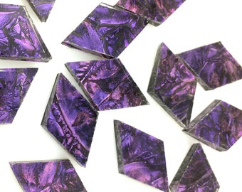 25 Van Gogh Purple Violet Mosaic Tile Small Diamonds Hand Cut From VG450 Van Gogh Glass, Stained Glass Tile for Mosaic Art or Craft Projects