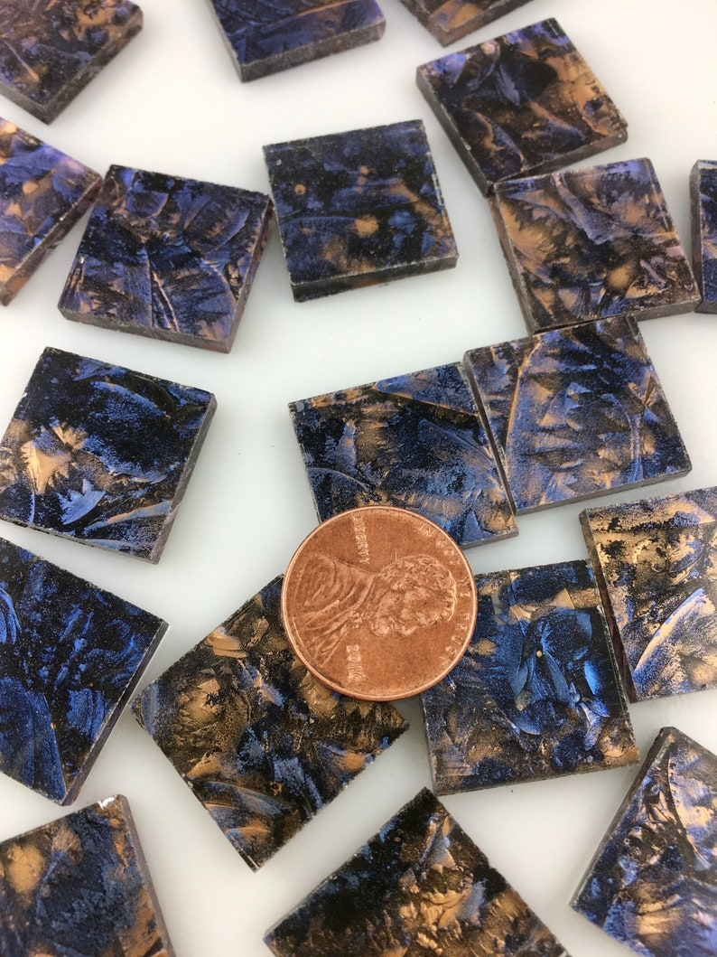 24 3/4 Van Gogh Bronze Blue Mosaic Tile Hand Cut From image 0
