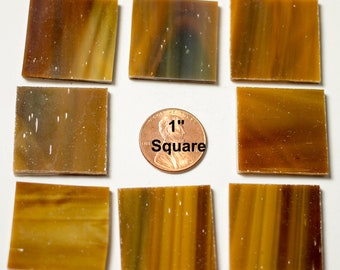 """15 1"""" Square Mosaic Tiles Medium Brown """"Mahogany"""" Cut From Original Spectrum Stained Glass, Perfect for Mosaic Art and Craft Projects"""