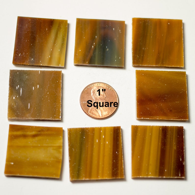 15 1 Square Mosaic Tiles Medium Brown image 0