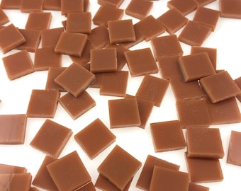 """50 1/2"""" Terra Cotta Mosaic Tile Squares Cut From Spectrum Fusible Stained Glass for Mosaic Art & Crafts"""