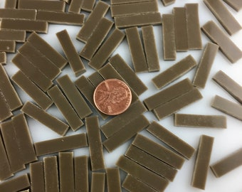 """50 Chocolate Brown Mosaic Tile Borders 1/4"""" X 1"""", Hand Cut Spectrum COE 96 Fusible Stained Glass, Perfect for Mosaic Art, Crafting or Fusing"""